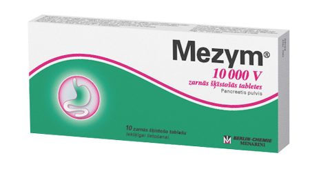 You should take Mezym during the meal